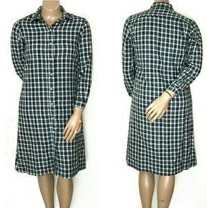 L.L.Bean 16, Button Up Plaid Shirtdress